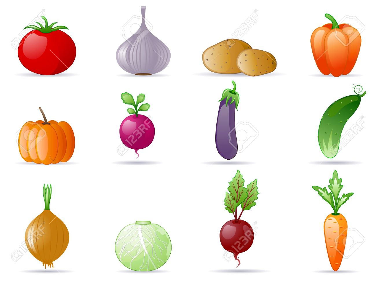 Vegetables icon set Stock Vector - 6136344
