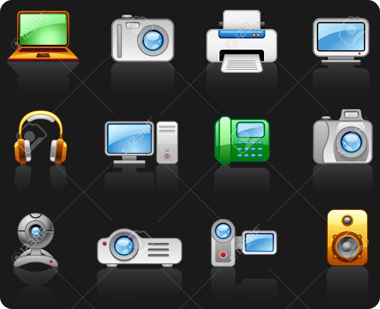 Electronics Computers Multimedia icon set Stock Vector - 6417537