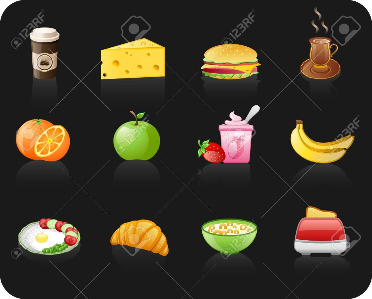 Breakfast black icon set Stock Vector - 6533208