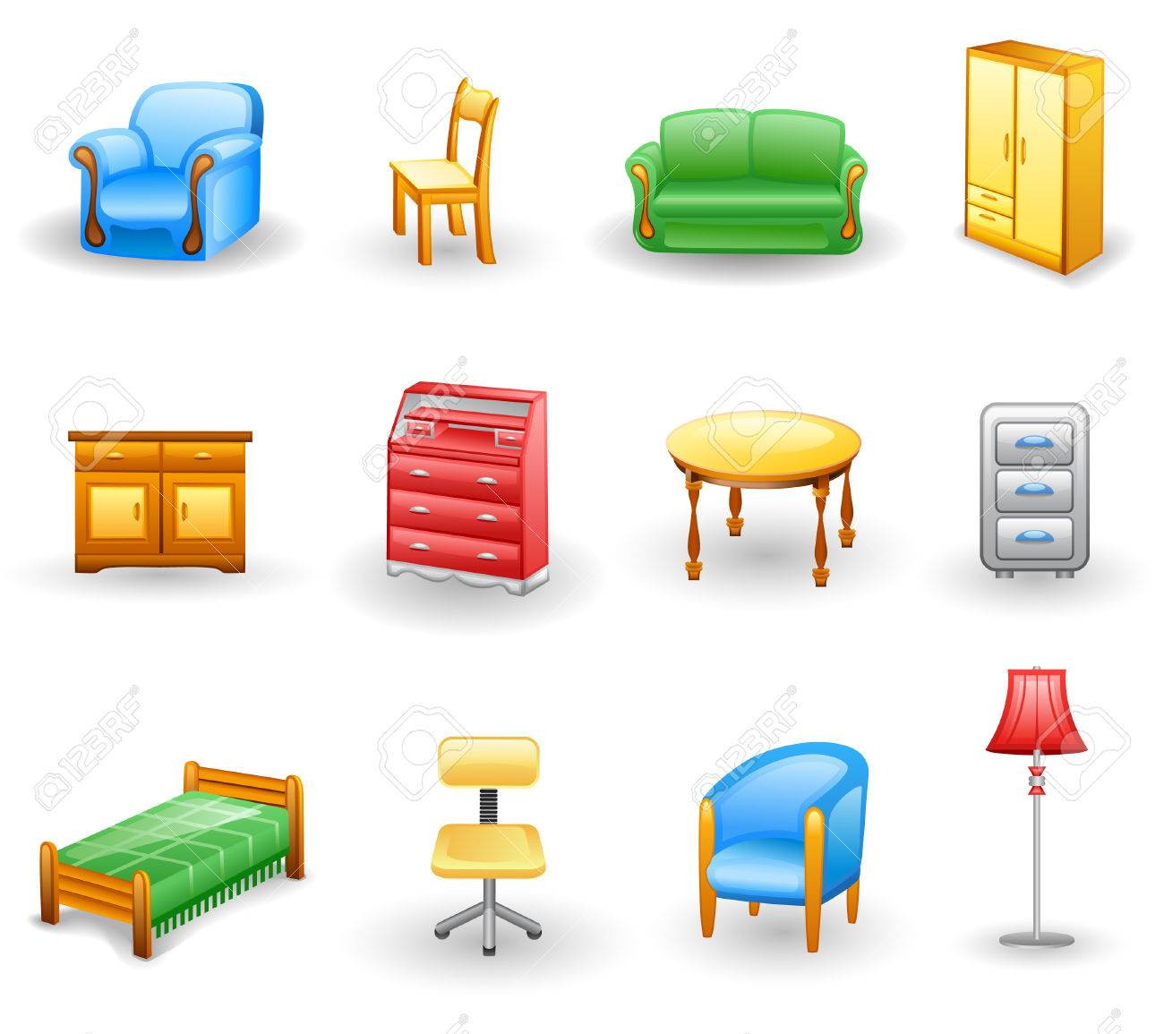 Furniture icon set.  Isolated on a white background. Stock Vector - 7115471