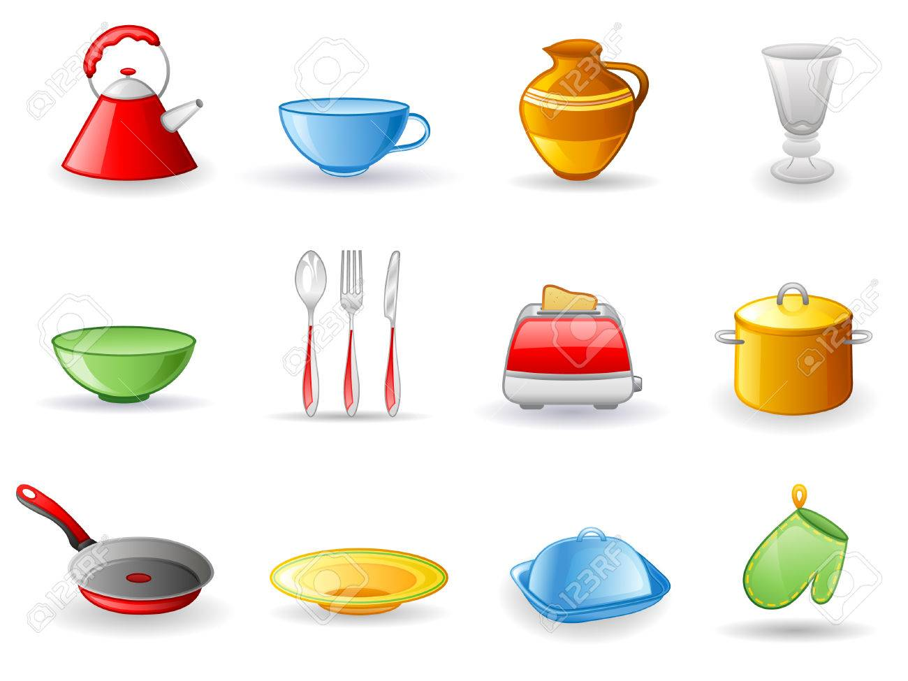 Kitchen utensil icon set.  Isolated on a white background. Stock Vector - 7178881