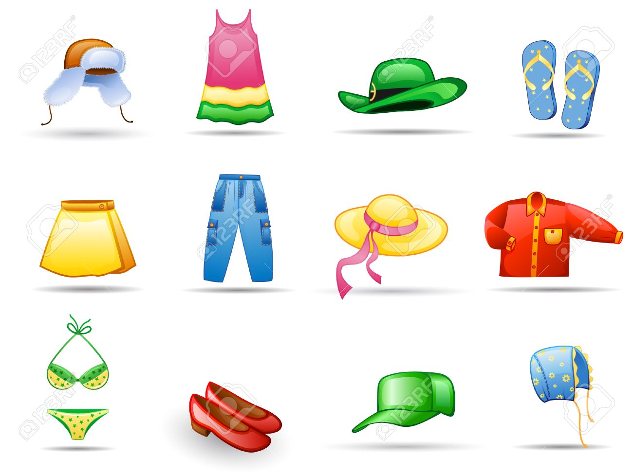 Clothes icon set.  Isolated on a white background. Stock Vector - 7224454