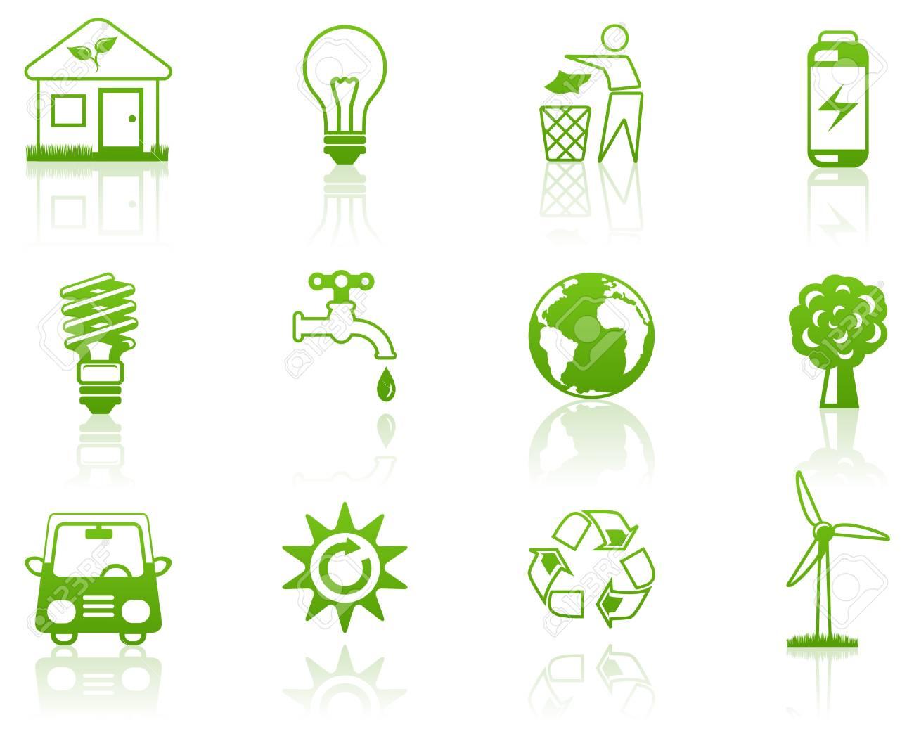 Environment green icon set Stock Vector - 7244064
