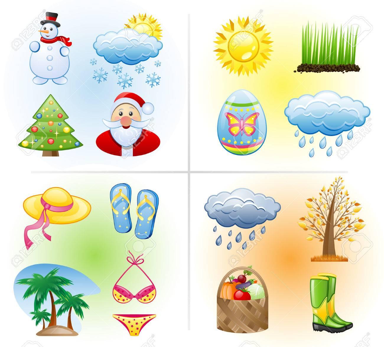 Seasons icon set: winter, spring, summer, autumn. Stock Vector - 7709153
