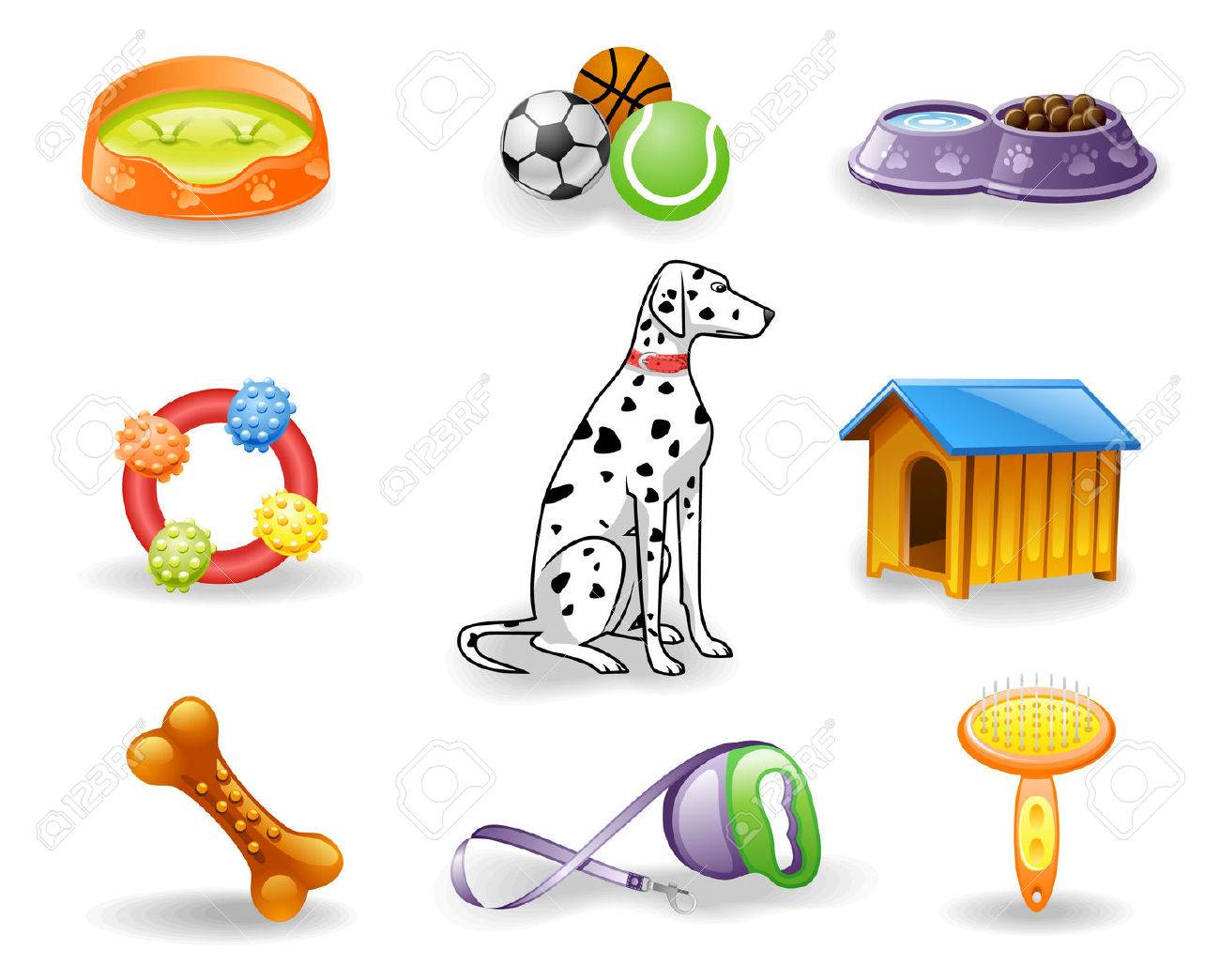 Dog care icon set.  Isolated on a white background. Stock Vector - 7826738