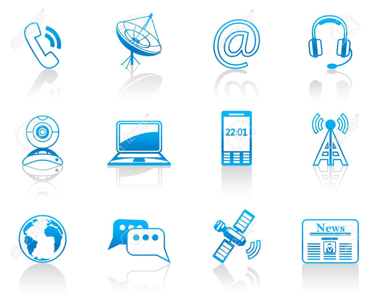 Communication blue icon set Stock Vector - 8705200
