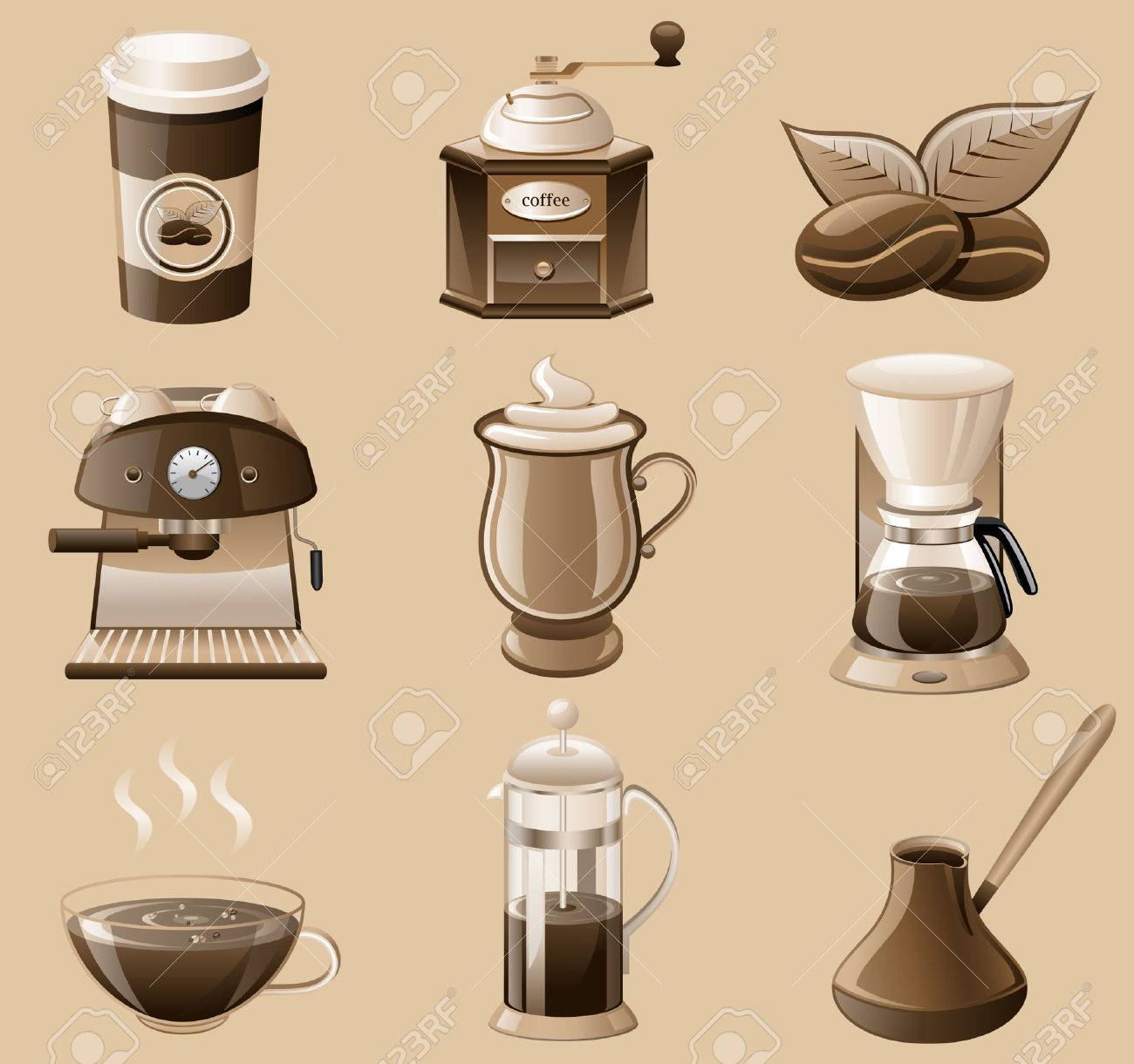 coffee icon set isolated on brown background. Stock Vector - 8805320
