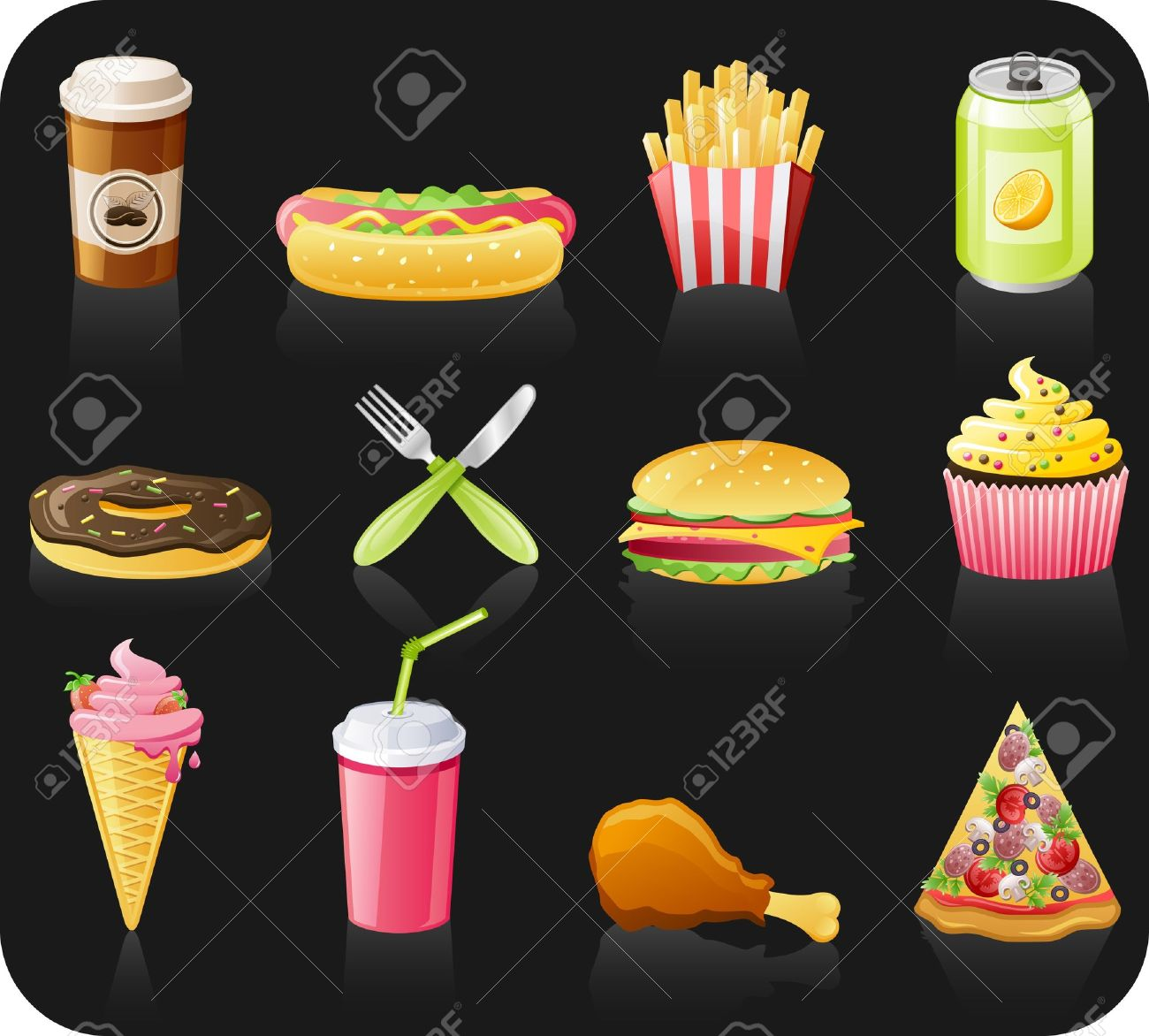 Fast food black background  icon set: coffee, hot dog, french fries, doughnut, fork, burger, fruitcake, ice-cream, drink, chicken, pizza Stock Vector - 9524782