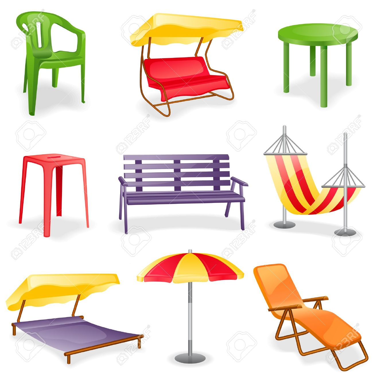 Garden furniture icon set.  Isolated on a white background. Stock Vector - 9607320