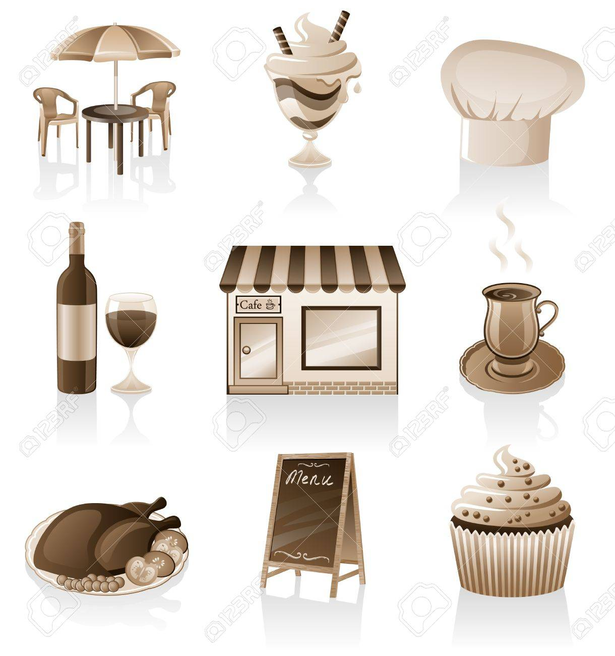 Vector cafe icon set isolated on white background. Stock Vector - 9804395