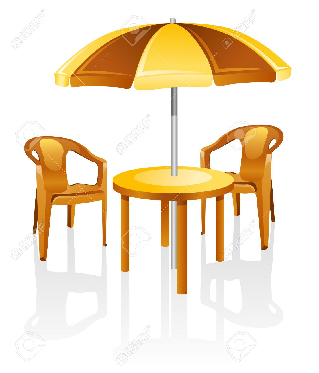Cafe, garden furniture: table, chair, parasol.  Isolated on a white background. Stock Vector - 9925095
