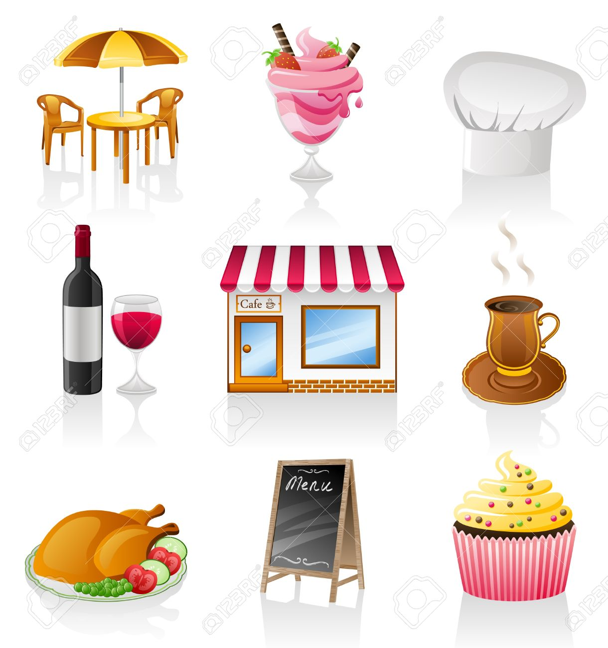 Fancy restaurant buildings clip art - Restaurant Building Vector Cafe Icon Set Isolated On White Background