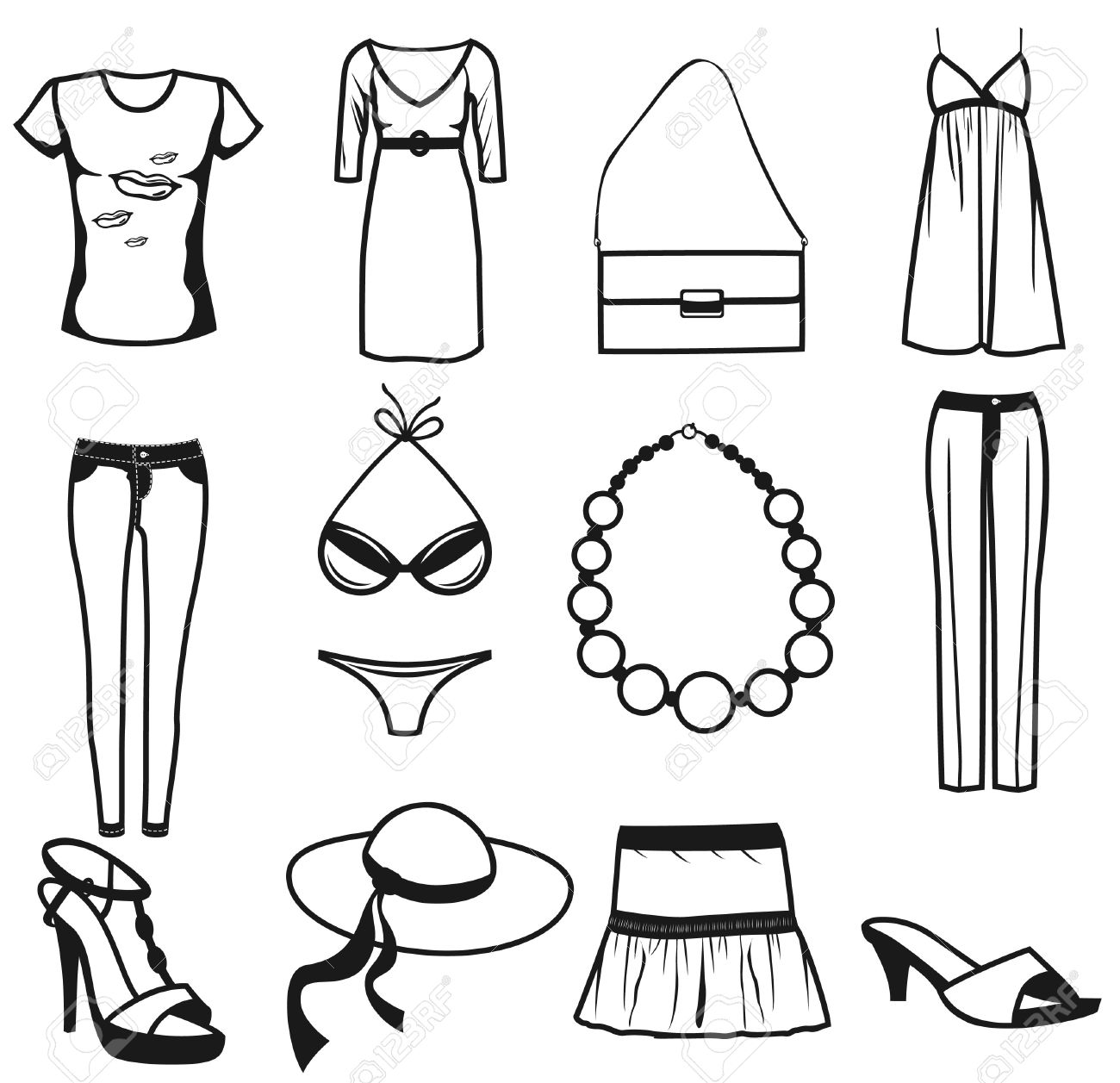 Women clothes and accessories summer icon set. Isolated on white background. Stock Vector - 9925098