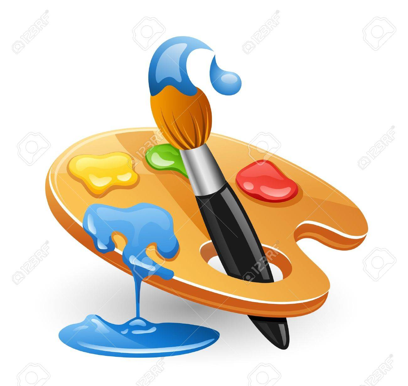 Palette and paintbrush. Isolated on white background. Stock Vector - 10233403