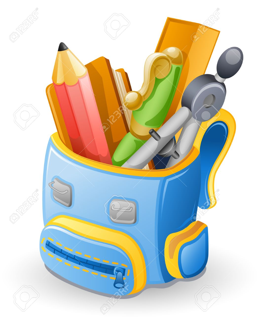 School bag: pencil, book, pen, ruler, compasses . Isolated on white background. Stock Vector - 10307650