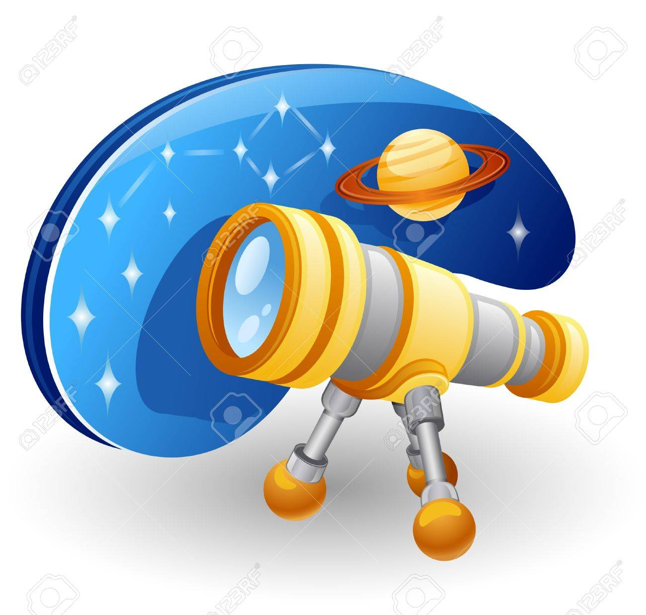 Telescope in front of star sky and Jupiter. Isolated on white background. Stock Vector - 10392201