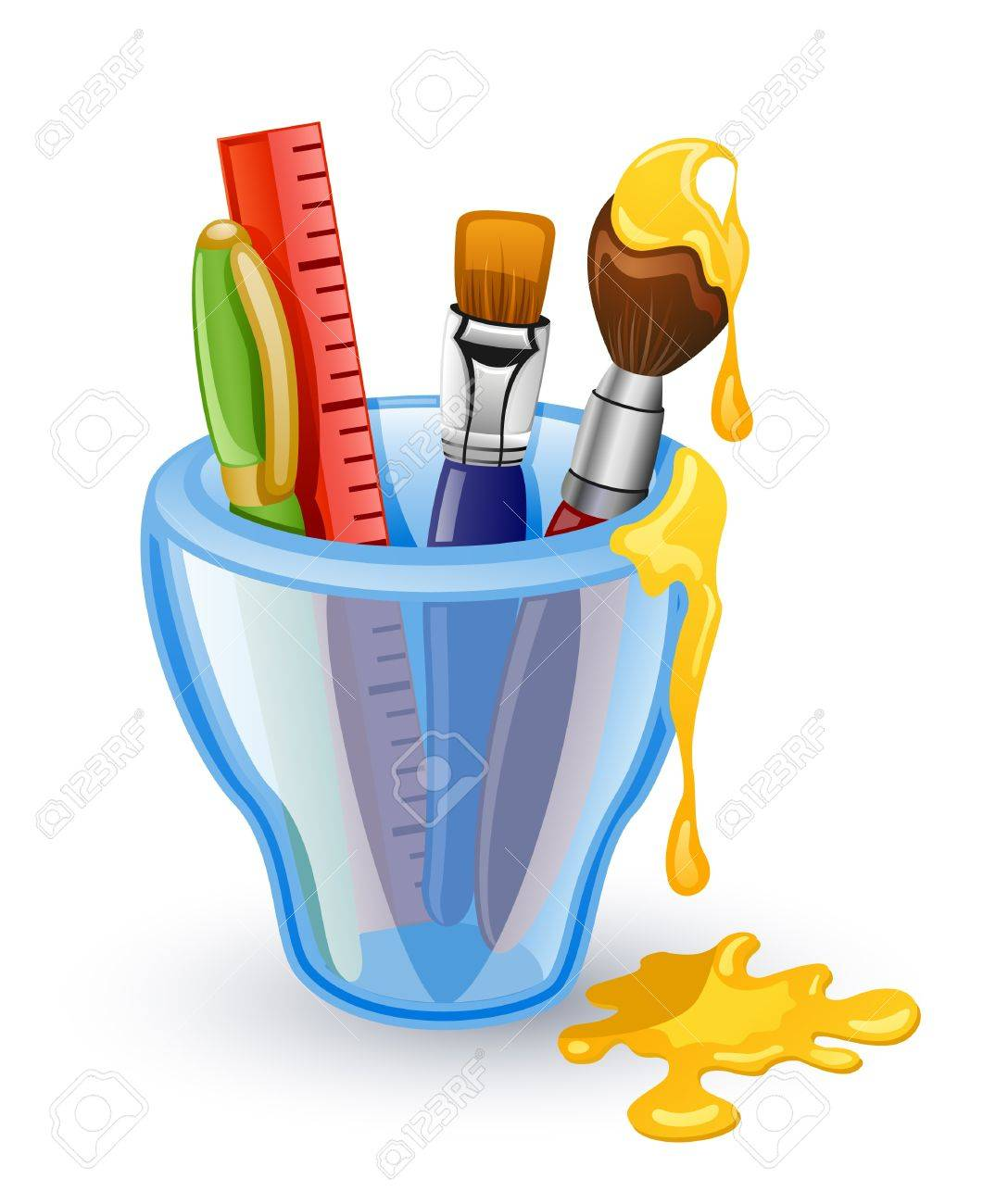 School tools: pen, brush, ruler in the glass. Isolated on white background. Stock Vector - 10644521