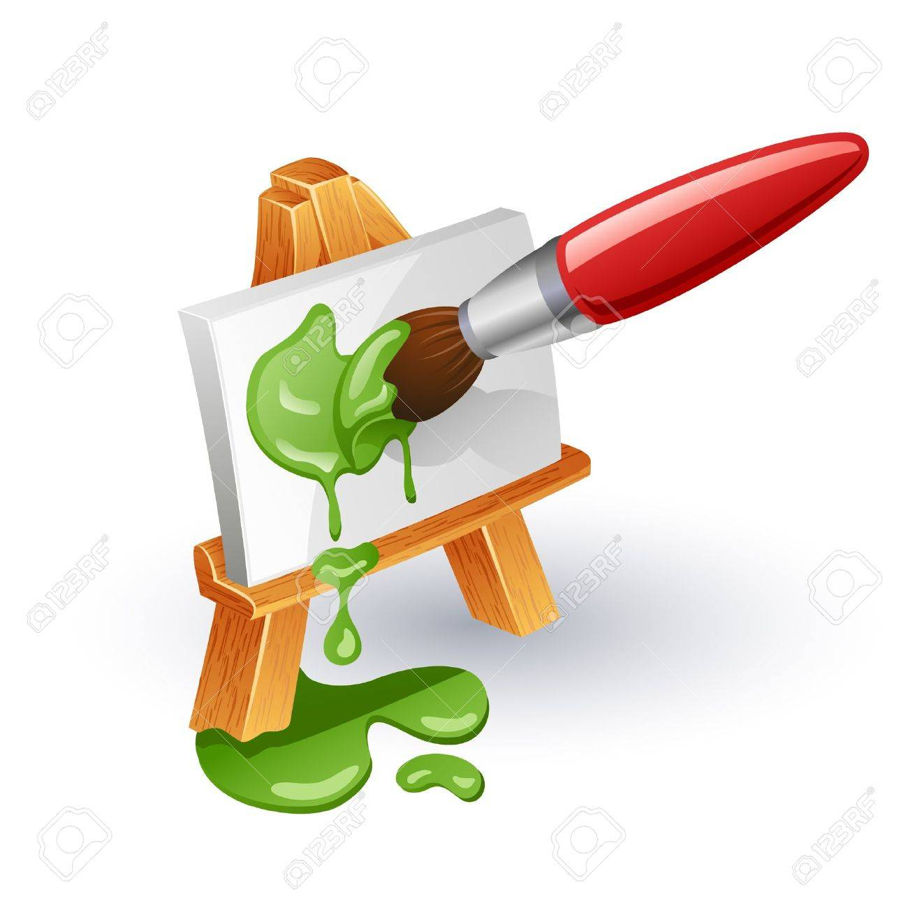 Easel and paintbrush. Paintbrush coloring canvas on easel isolated on white background. Stock Vector - 10697809