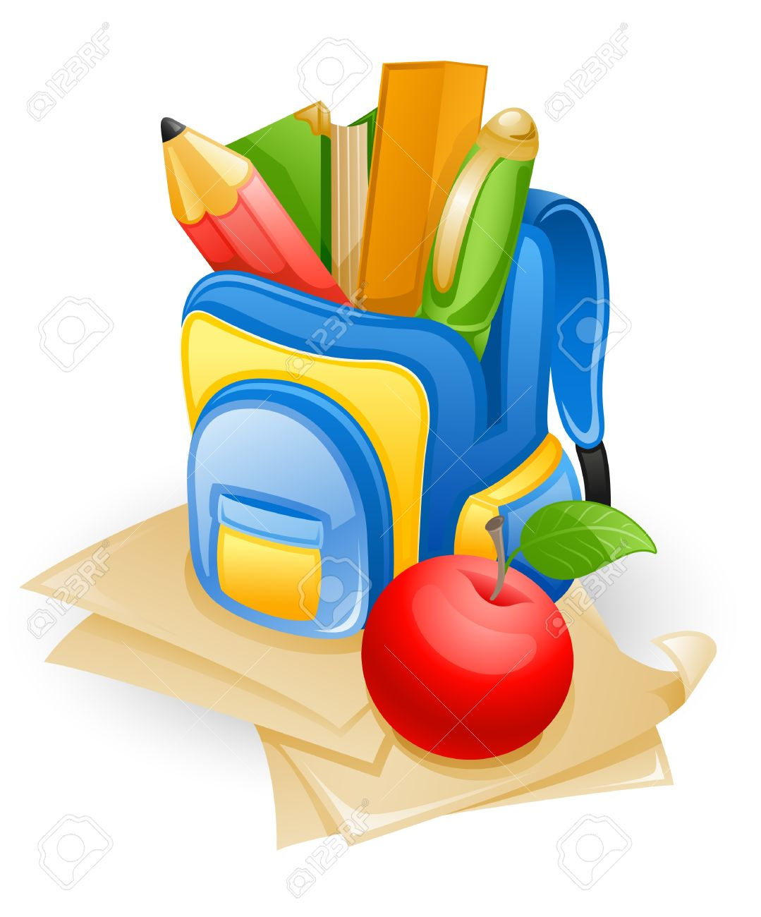 School bag: pencil, book, pen, ruler and apple on paper. Stock Vector - 10857002