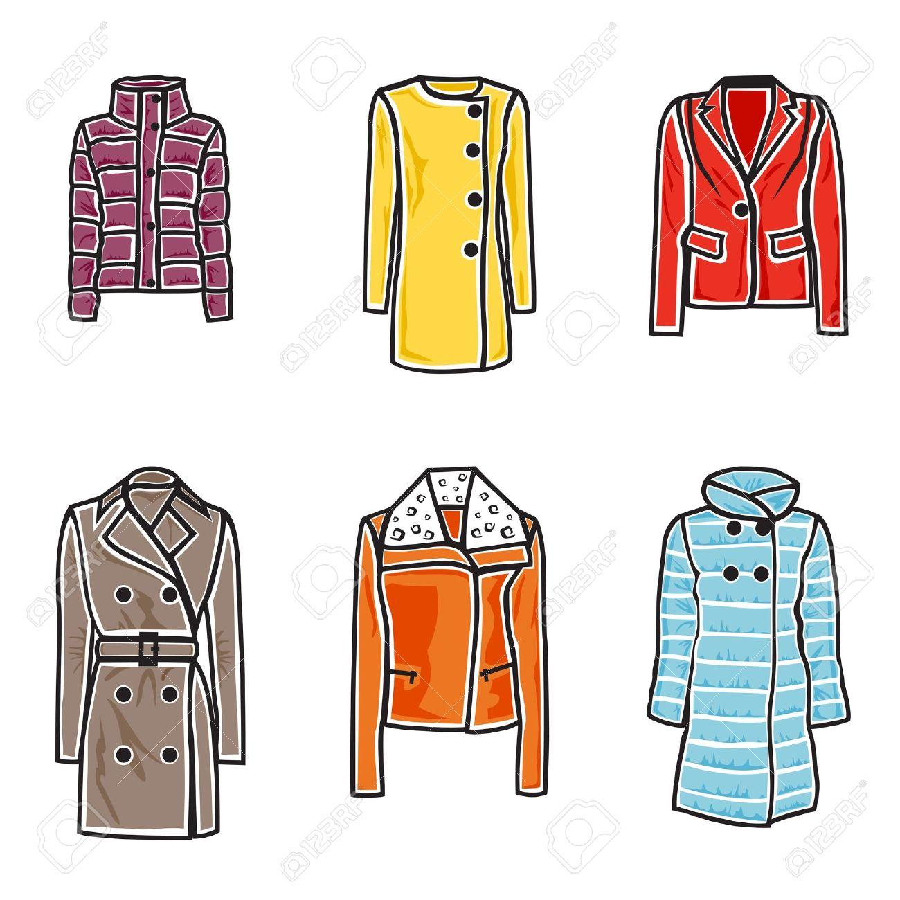 illustration of women coats on white background Stock Vector - 15868505