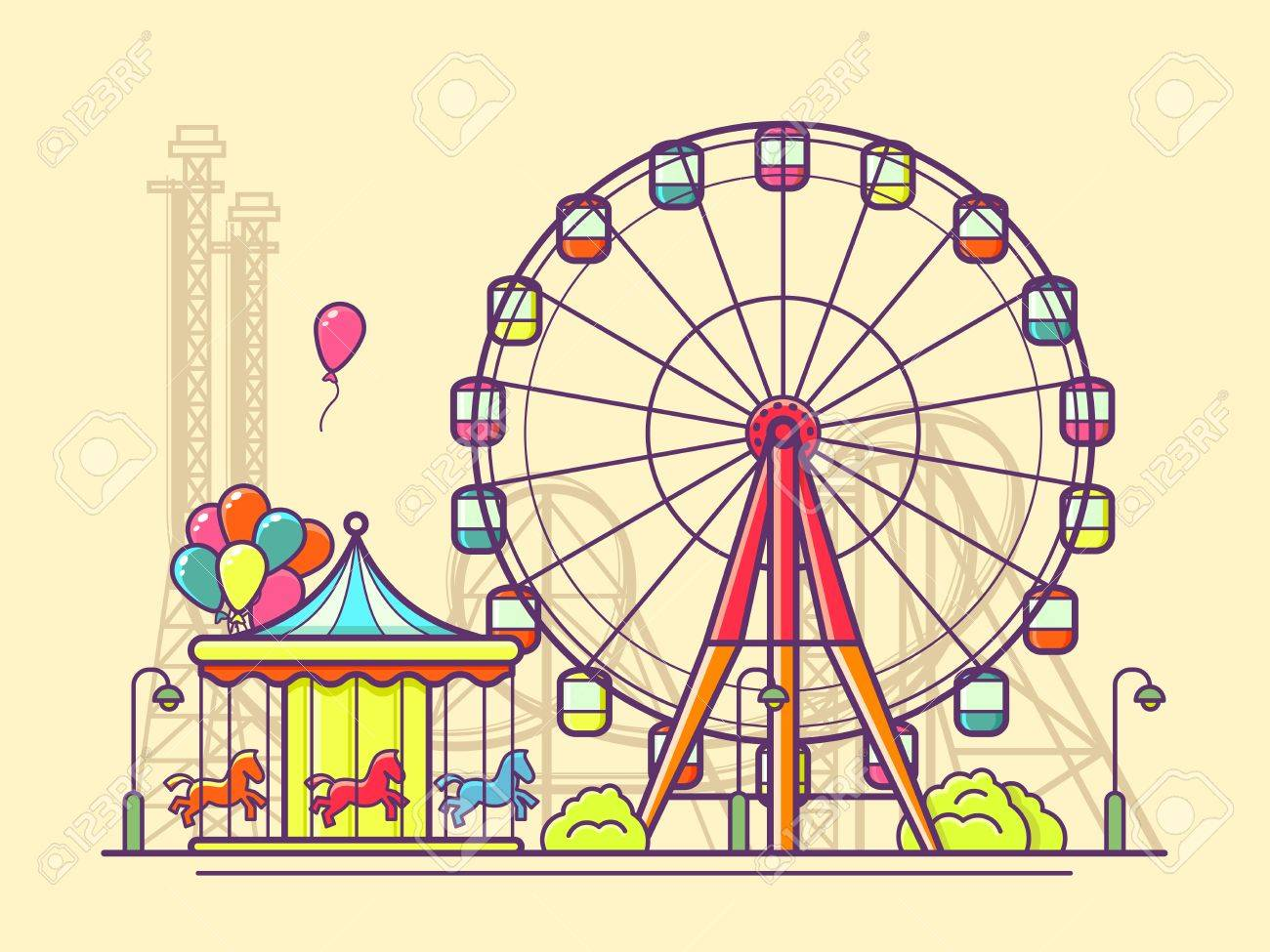 Funfair with ferris wheel. Amusement and carnival, carousel in park, illustration Stock Vector - 60625052