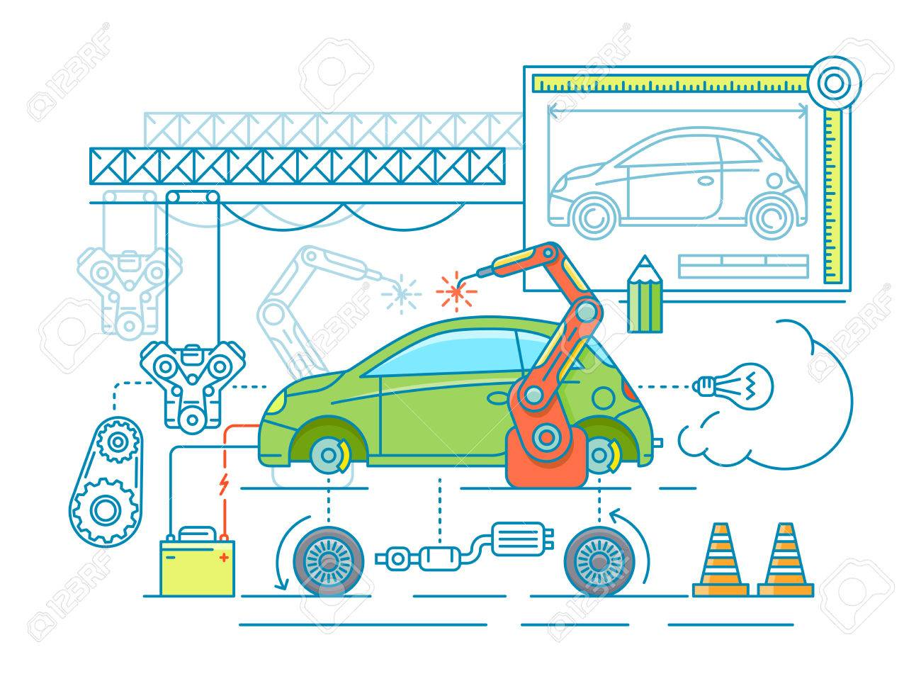 Vehicle assembling flat design. Car manufacturing, build according to the drawing. Vector illustration Stock Vector - 63252020