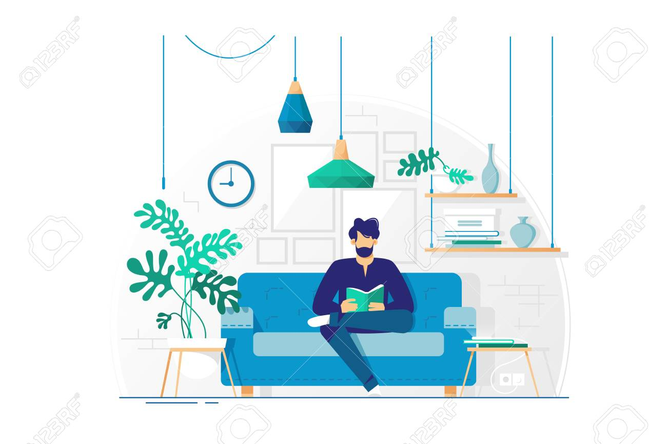 Excellent Young Man With Beard Reading Book Sitting On Couch Concept Living Inzonedesignstudio Interior Chair Design Inzonedesignstudiocom