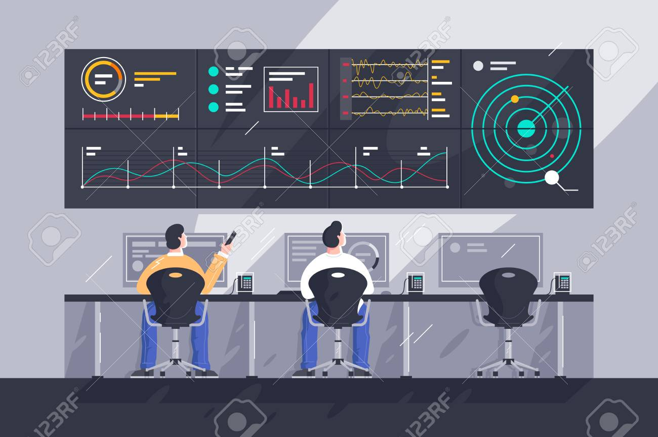 Flat young men employee with screens with charts at control center. - 125499476
