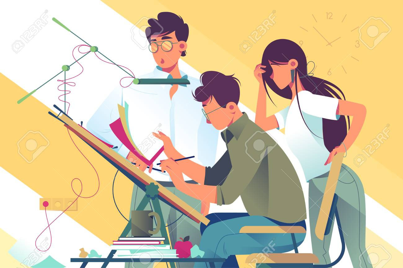 Flat young woman and man team at work on design project. Concept businessman and businesswoman employee characters with professional equipment. Vector illustration. - 126510714