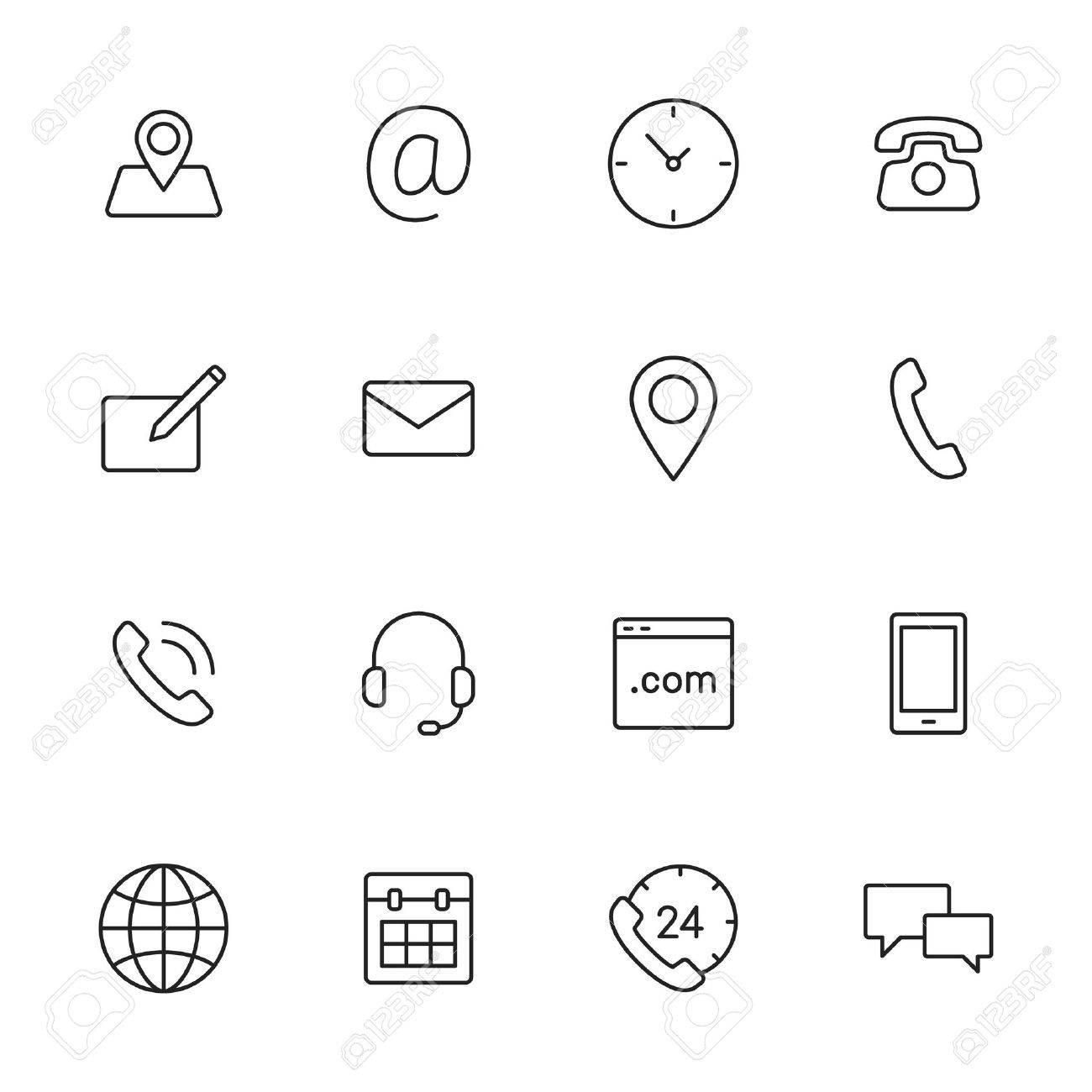 Contact us thin line icons for web and mobile app. - 43675865
