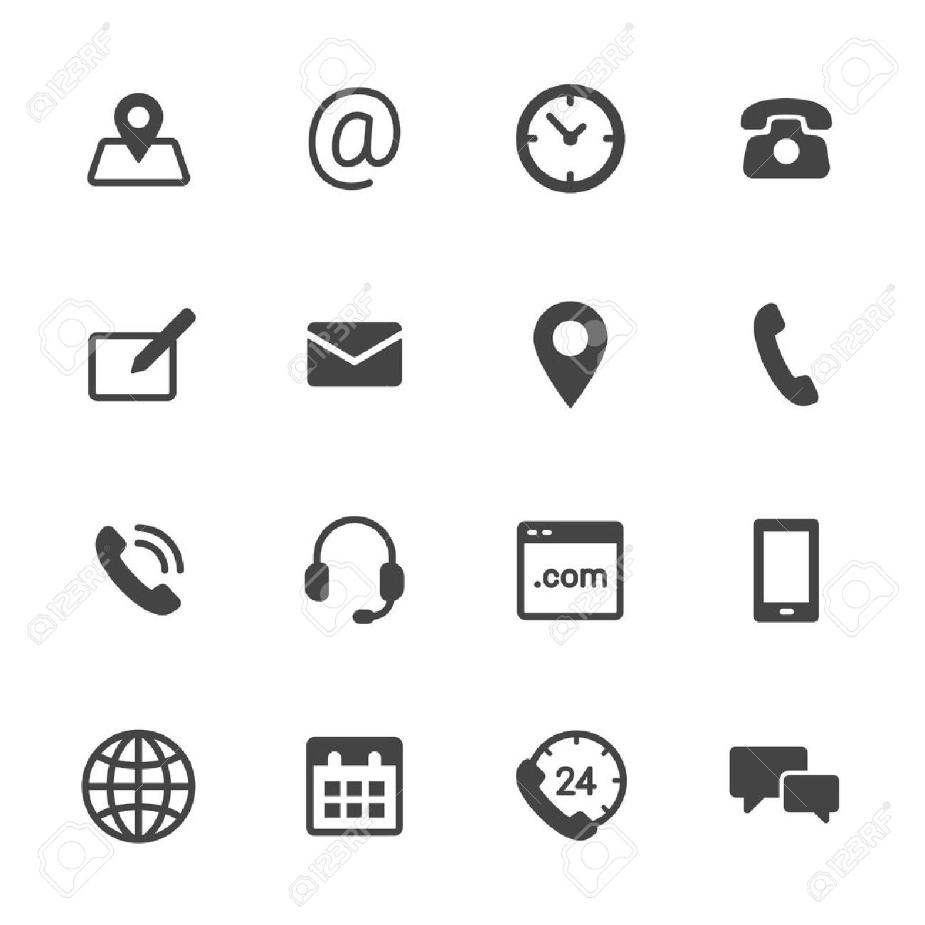 contact us icons simple flat vector icons set on white background rh 123rf com vector icons free vector icons powerpoint