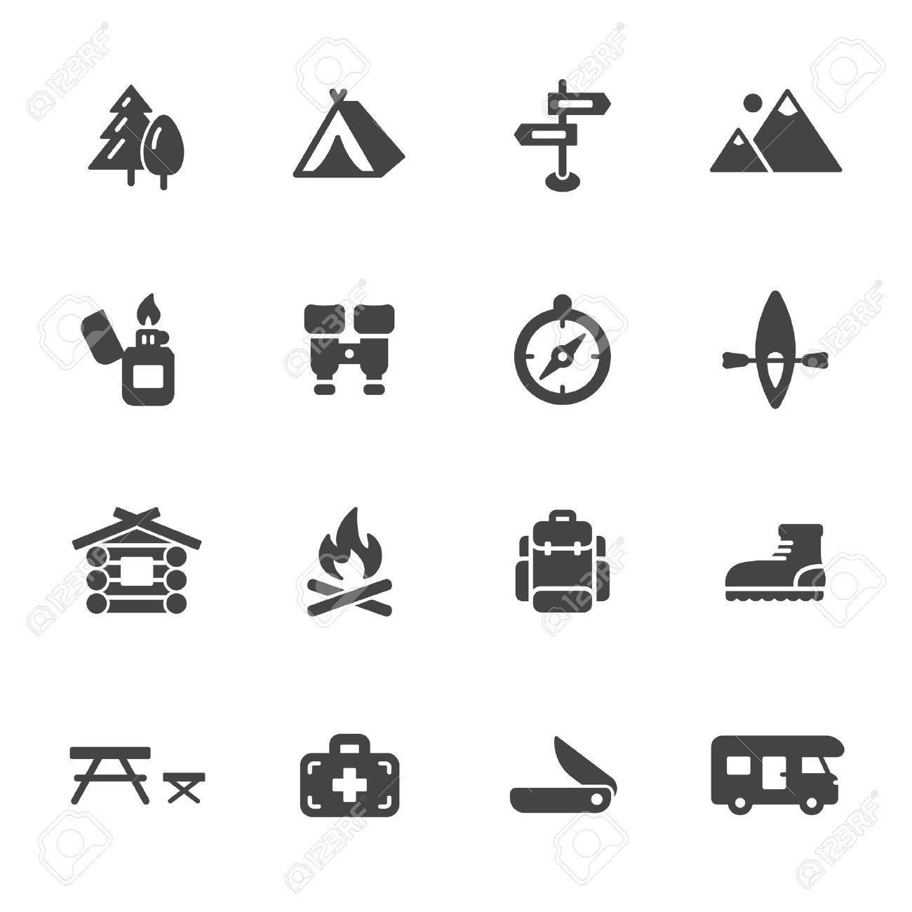 Camping, Wandern Und Outdoor-Symbole. Einfache Wohnung Vektor-Icons ...