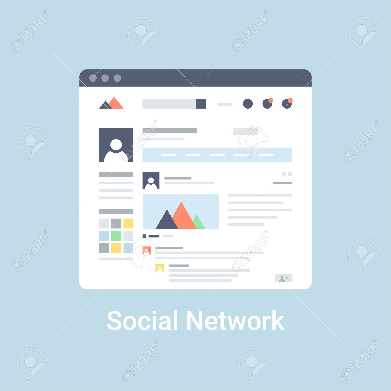 Social Network Website Wireframe Interface Template. Flat Vector ...