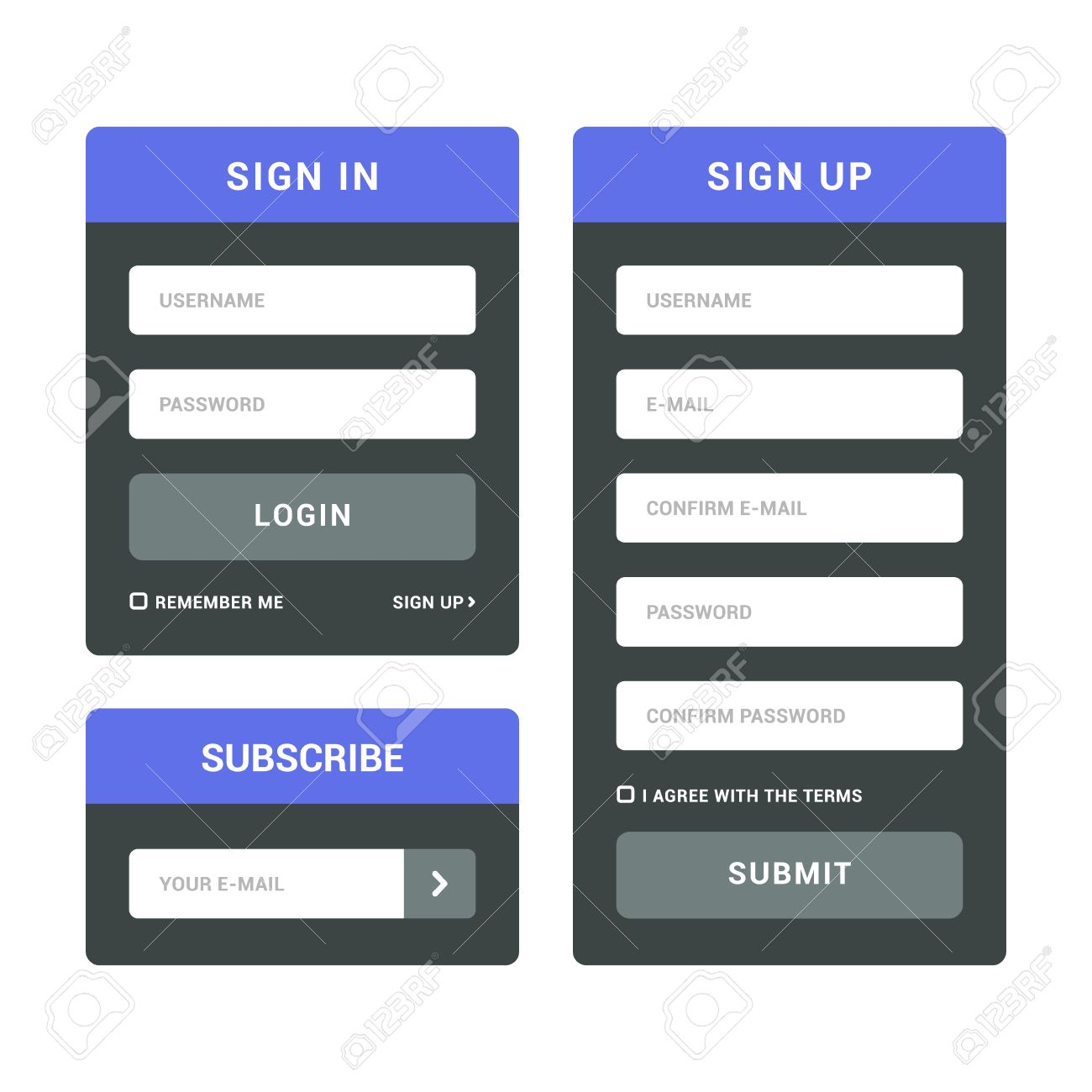Login And Registration Forms. Flat Sign In And Sign Up Templates ...