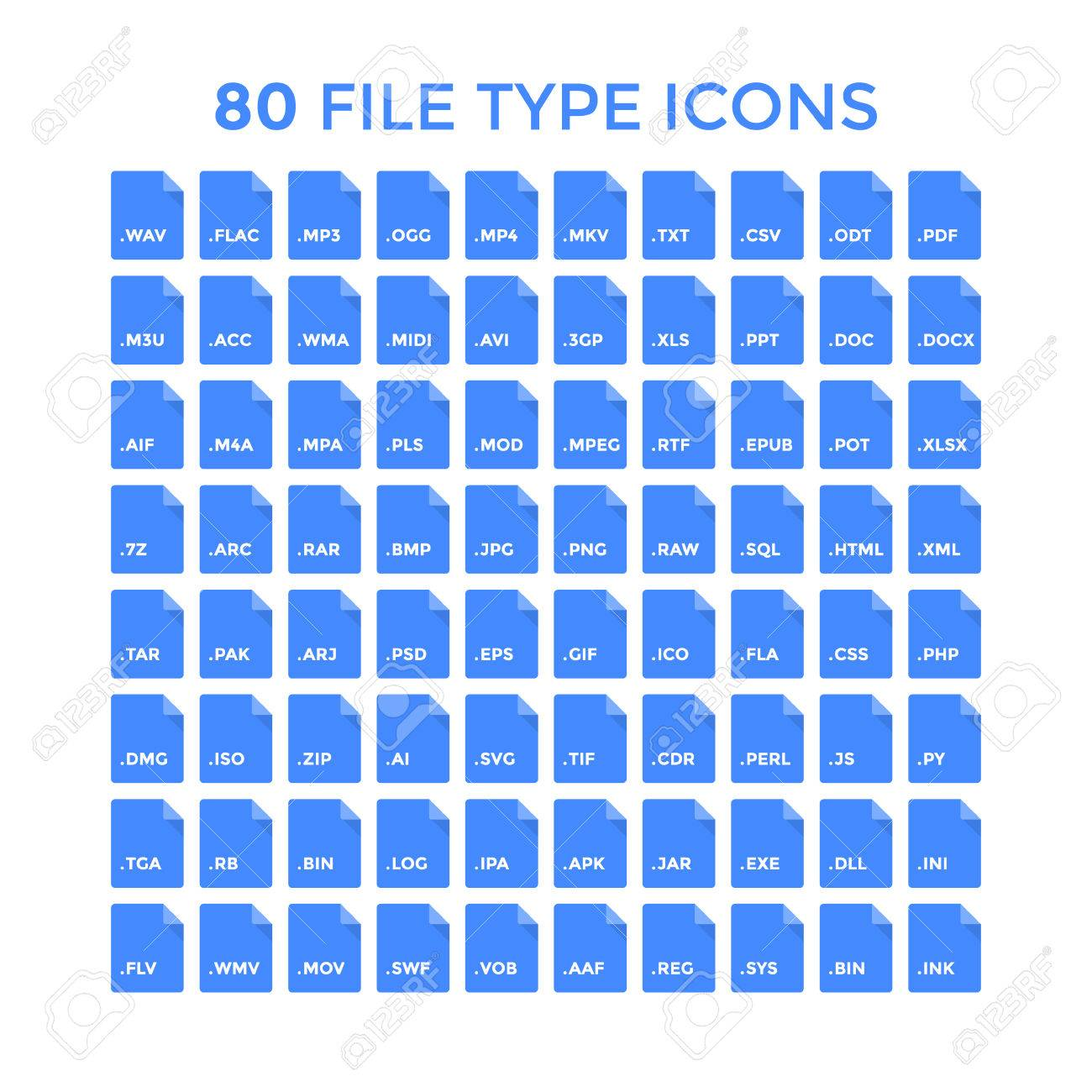 File type icons set. Vector file format labels Stock Photo - 51057609