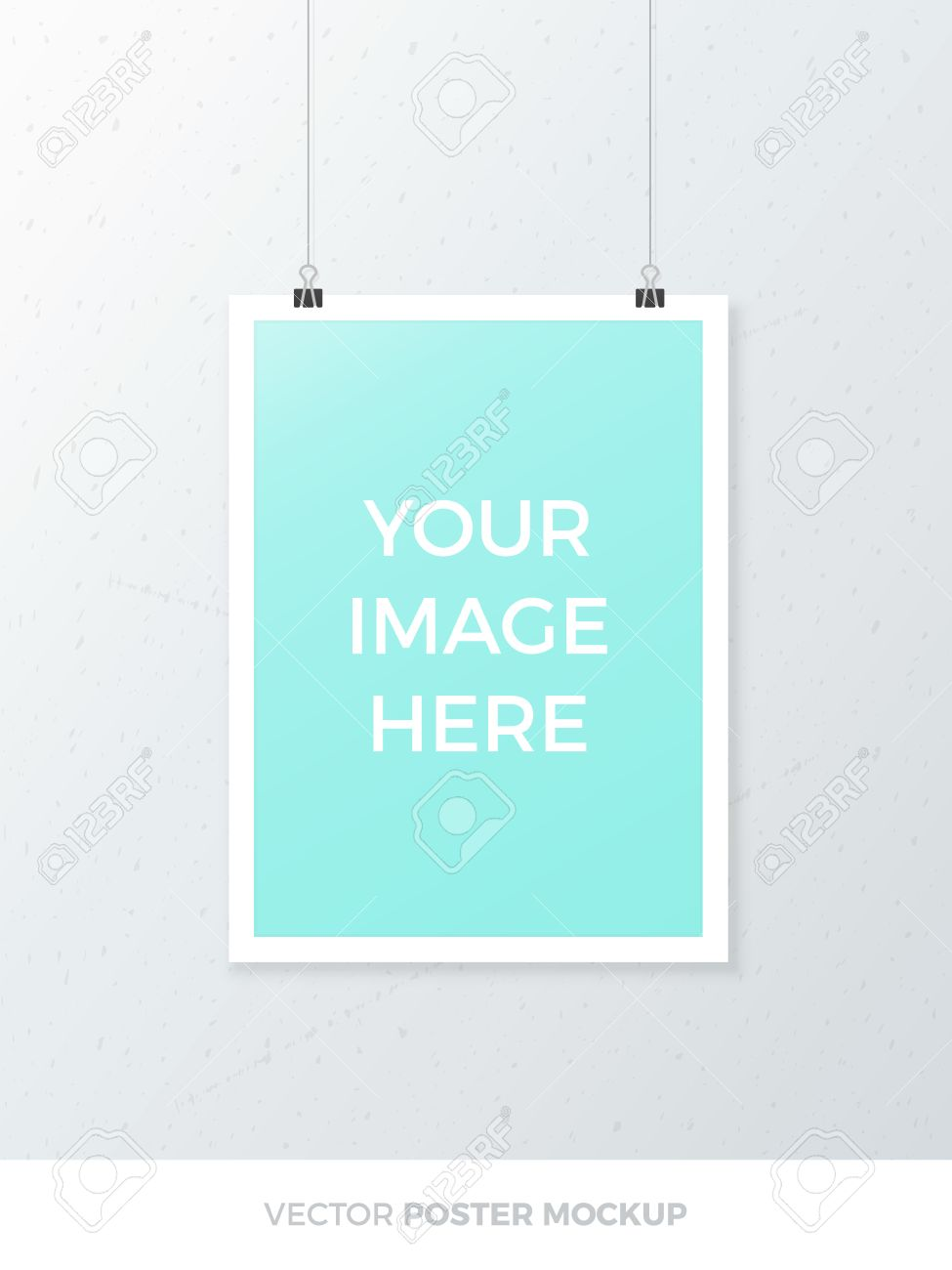 blank hanging a4 poster mockup isolated on grey wall realistic