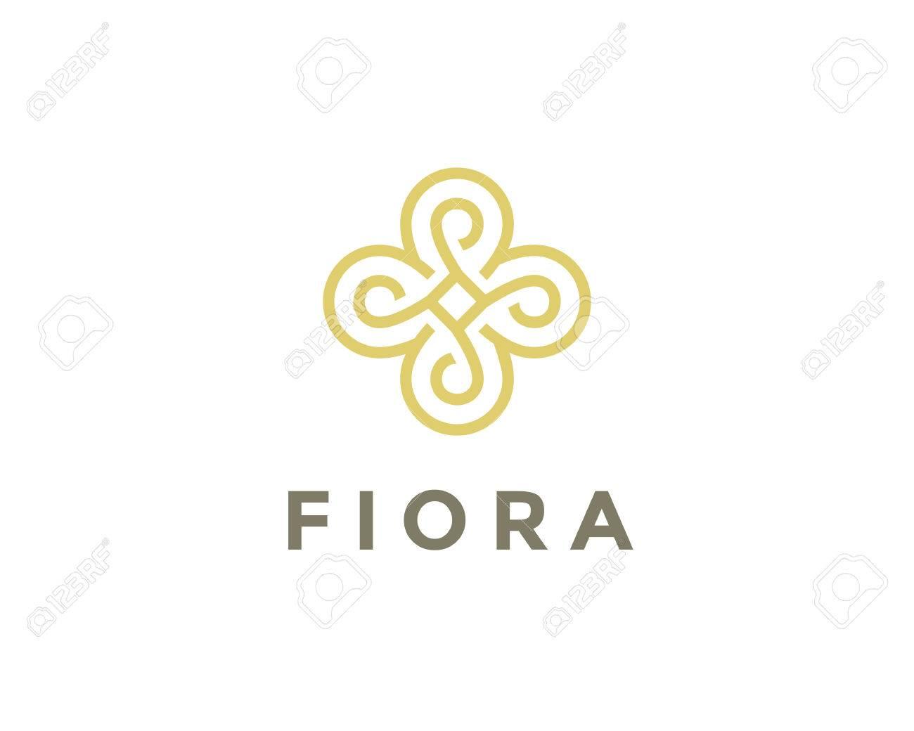 abstract gold flower logo design unusual golden floral symbol