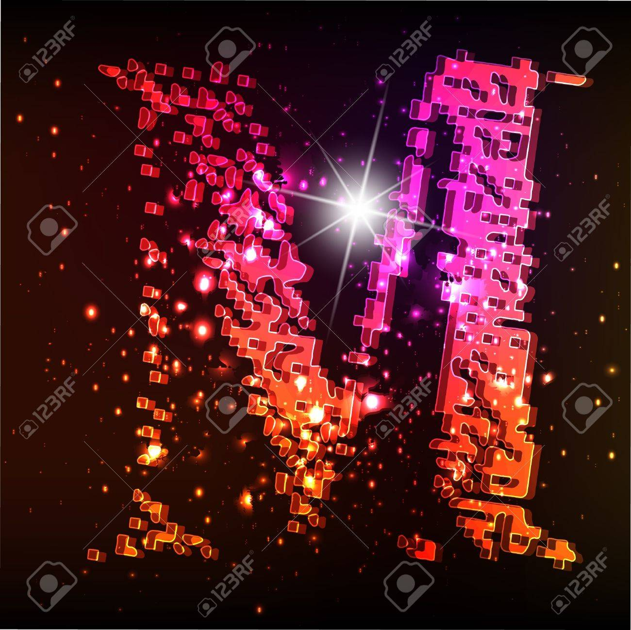 Glowing neon font. Shiny letter Stock Vector - 10575022