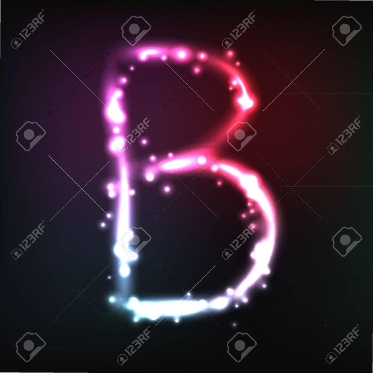 alphabet. Neon letter Stock Vector - 10649965