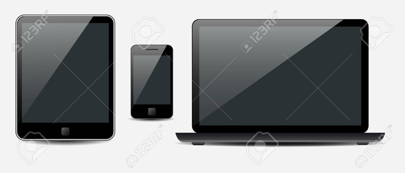 Vector Laptop, tablet computer and mobile phone Stock Vector - 10988009