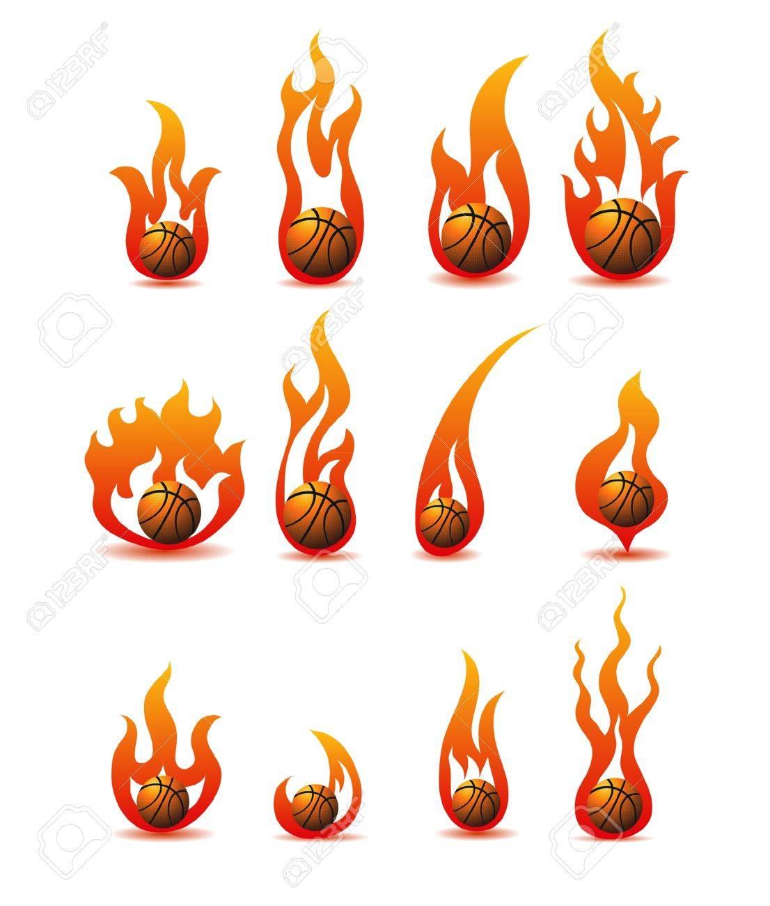flaming basketballs Stock Vector - 11449207