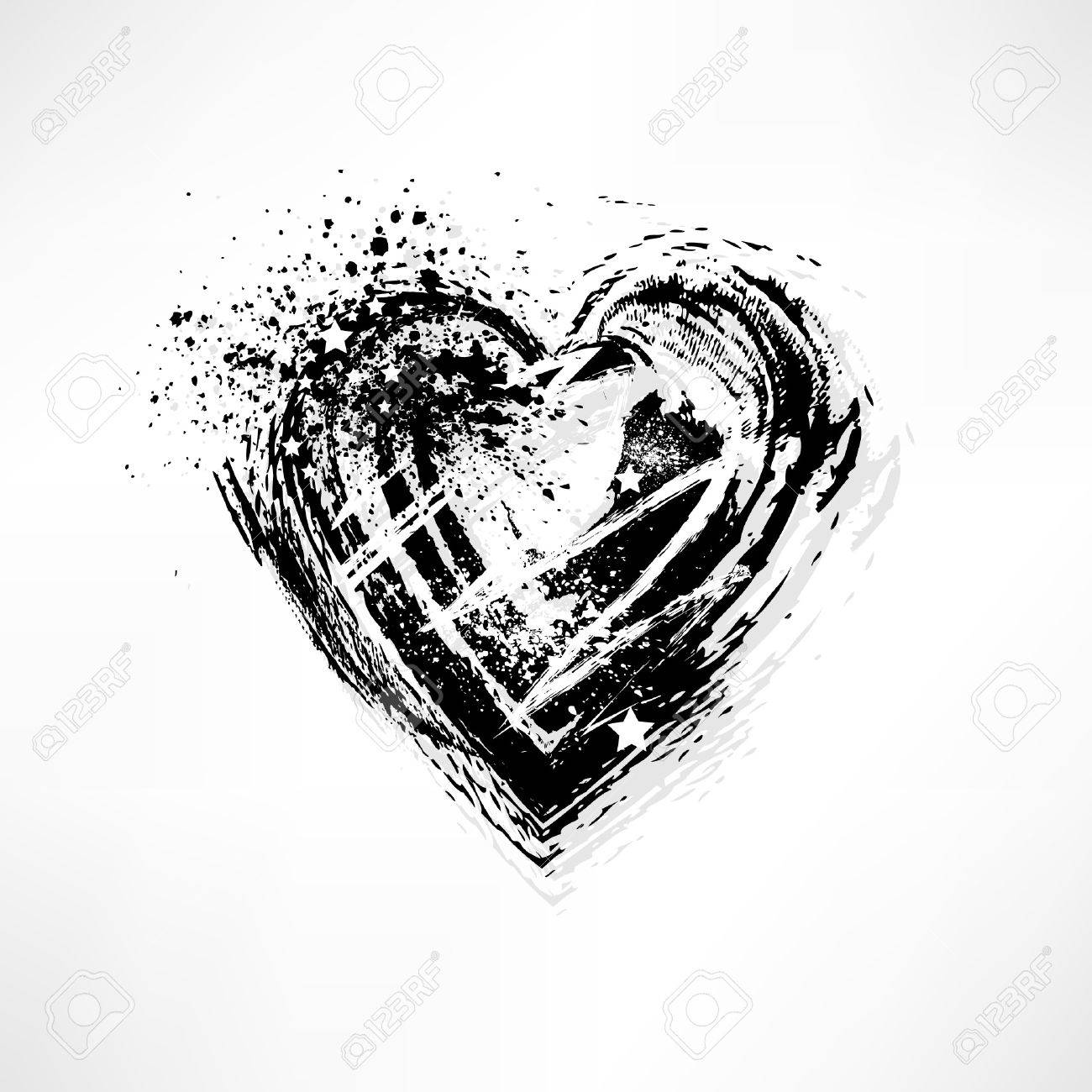 Painted brush heart shape Stock Vector - 11659940