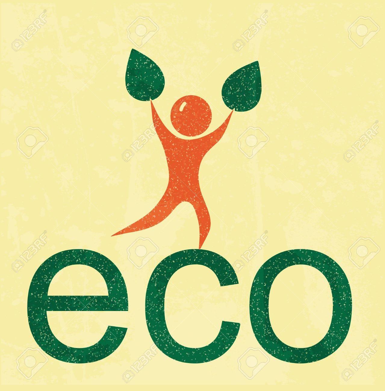 Eco man. retro poster Stock Vector - 11987136
