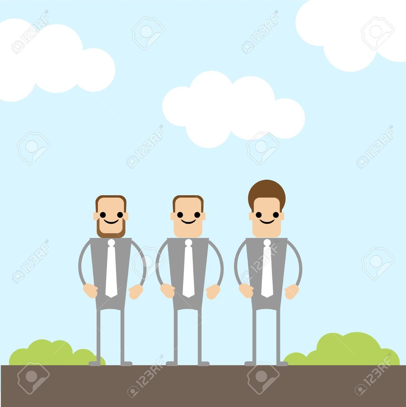 three businessman on the field Stock Vector - 12351404