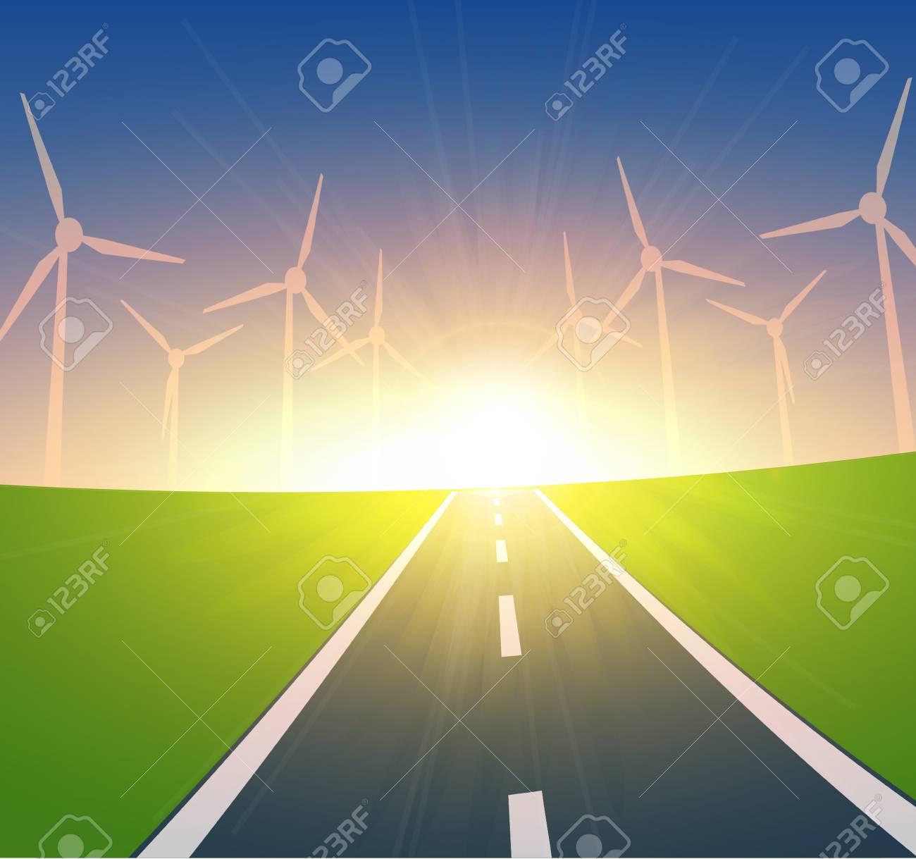 Wind Turbines Landscape Stock Vector - 13478346