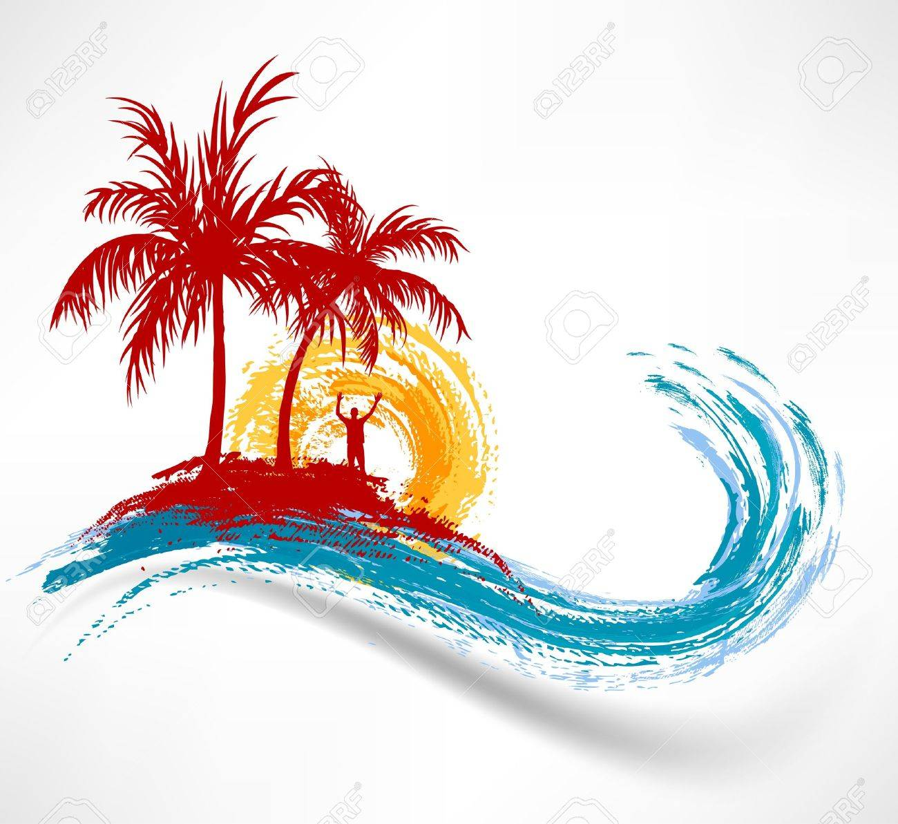 Palm trees and ocean wave  Man against the sunset Stock Vector - 14032651