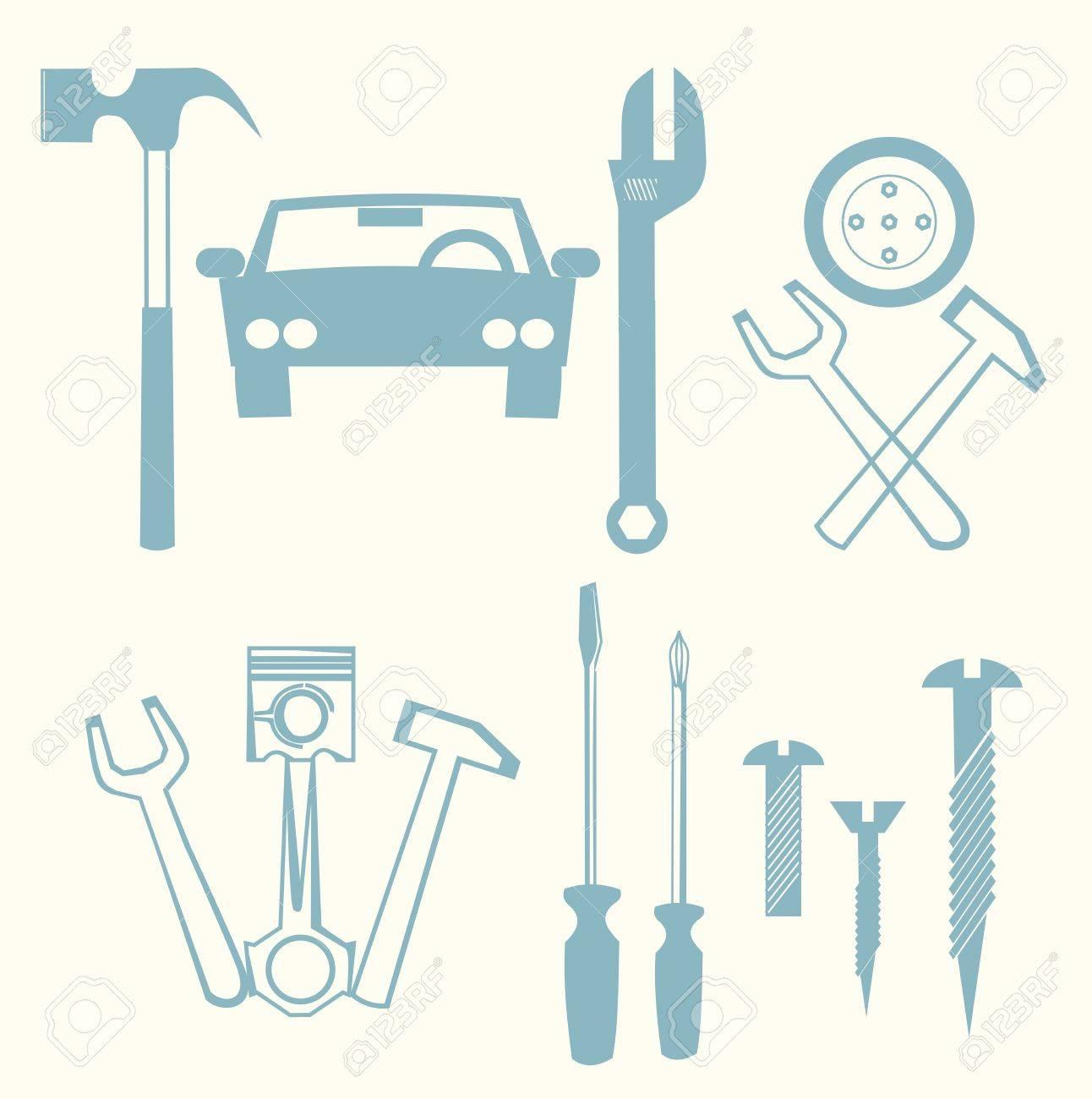 car repair icons Stock Vector - 15442116