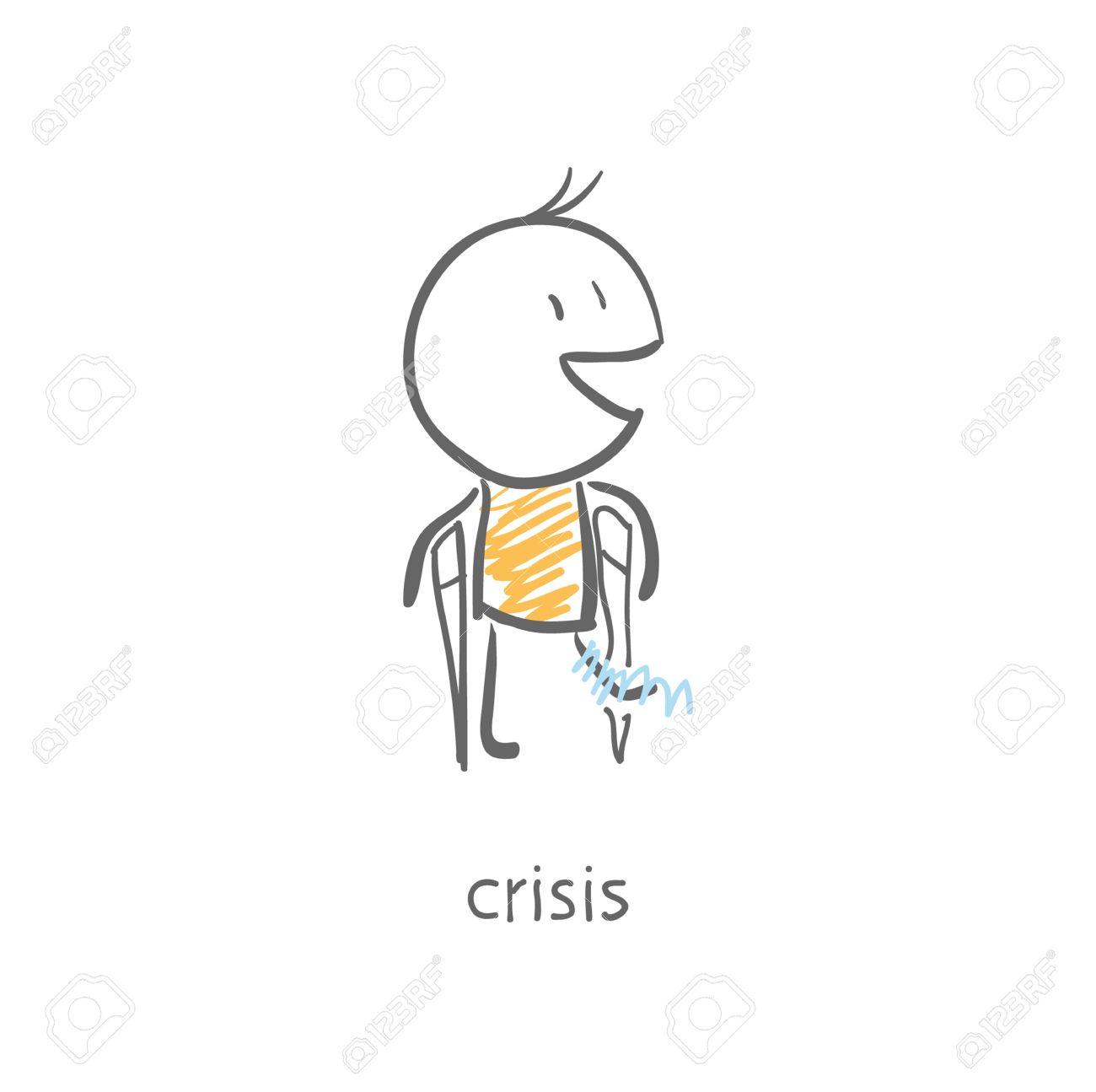 man with a broken leg on crutches Stock Vector - 15447228