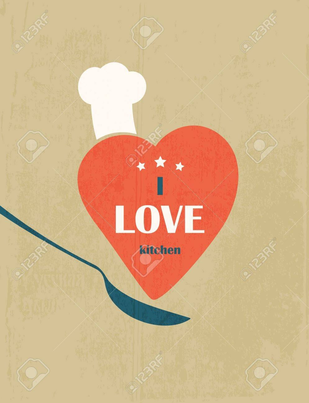 I love the kitchen  Retro poster Stock Vector - 15691789