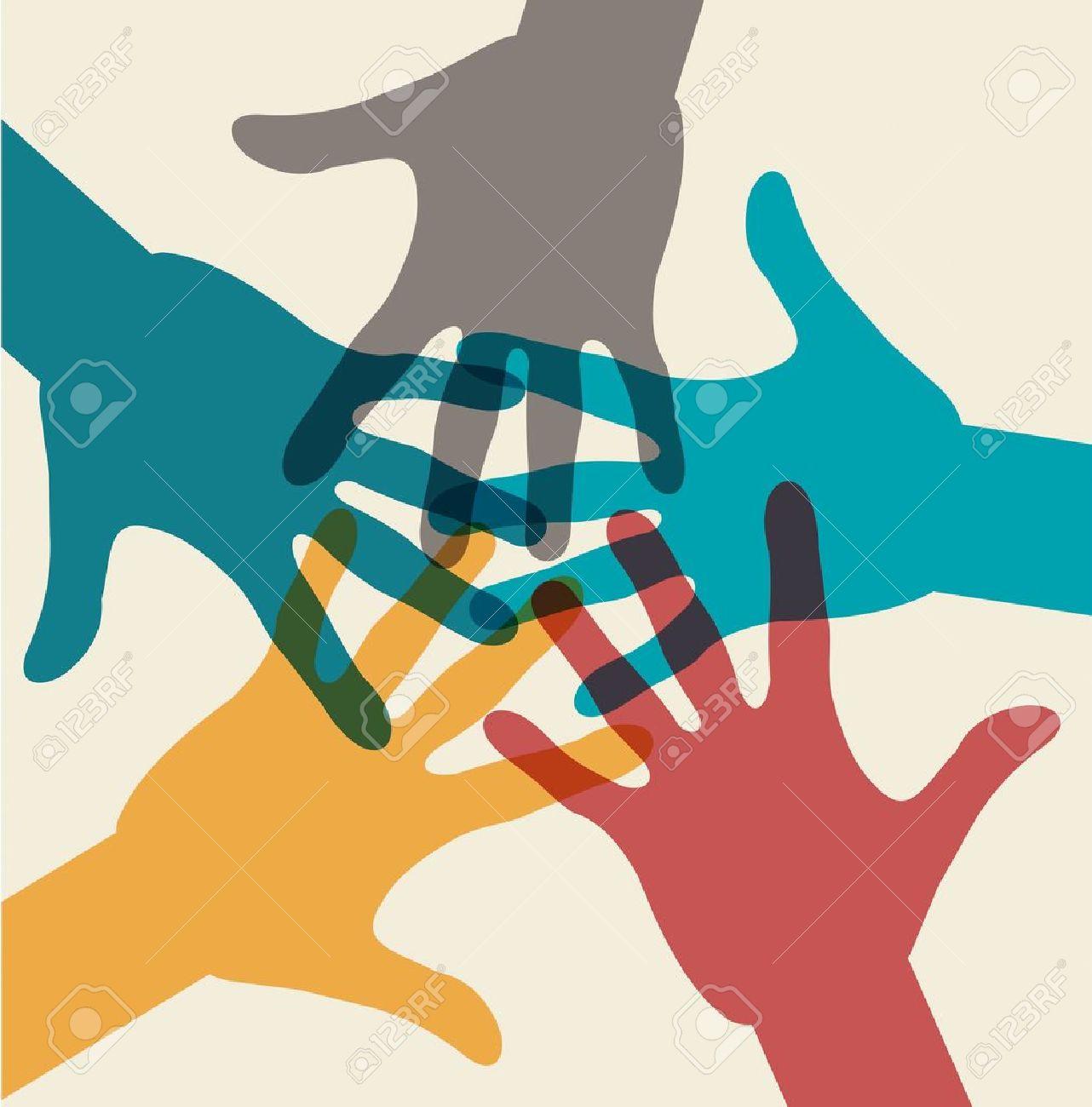 Team symbol. Multicolored hands Stock Vector - 15879560